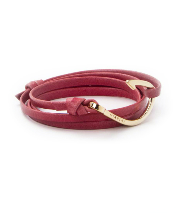 Miansai Gold Fish Hook and Flamingo Leather Wrap Bracelet