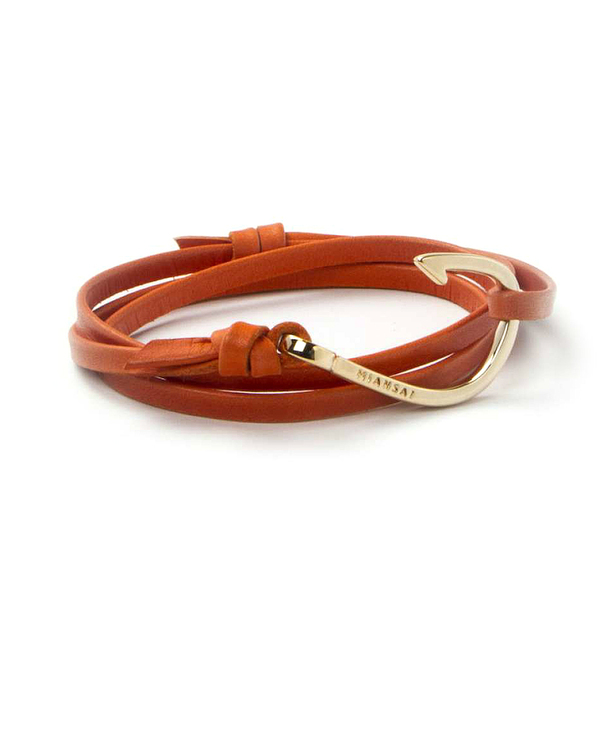 Miansai Gold Fish Hook and Orange Leather Wrap Bracelet