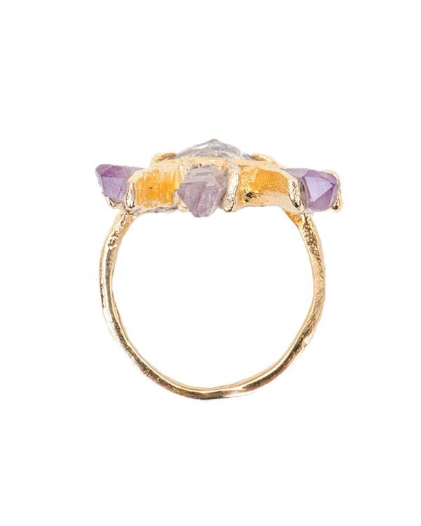 Unearthen Eye Crown Ring with White Sapphire and Amethyst