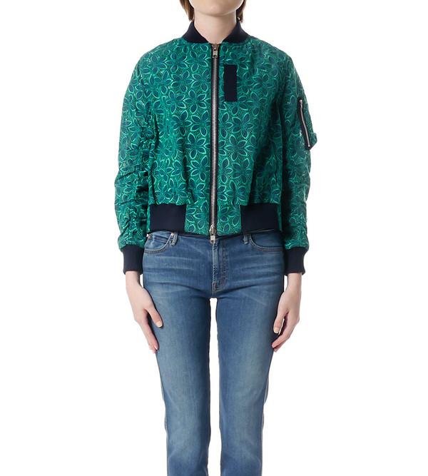 Sacai Luck Green and Navy Lace Varsity Jacket