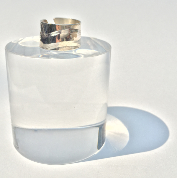 Sterling Silver Slice Ring with Opal Cabachon