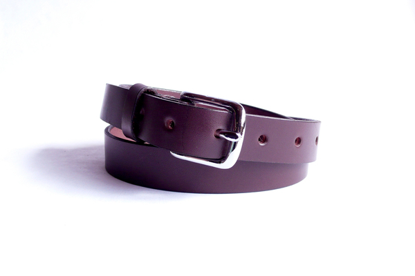 Sara Barner 1 Inch Dark Brown Belt with Silver Buckle