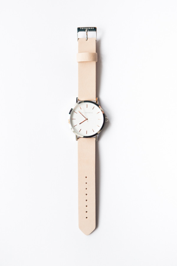The Horse Original Leather Watch / White Face, Light Tan Band, Rosegold Indexing