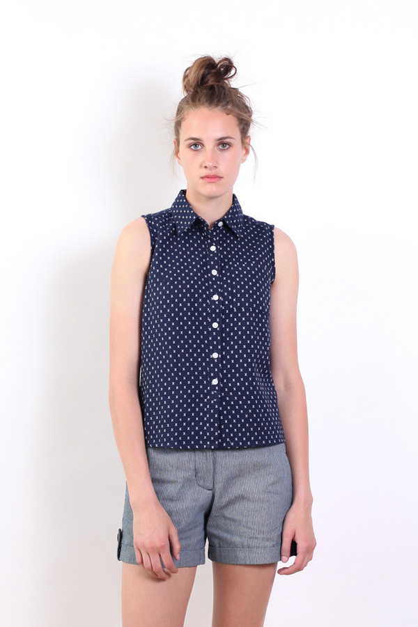 Bridge & Burn Hawley Navy Crosshatch Button-Up