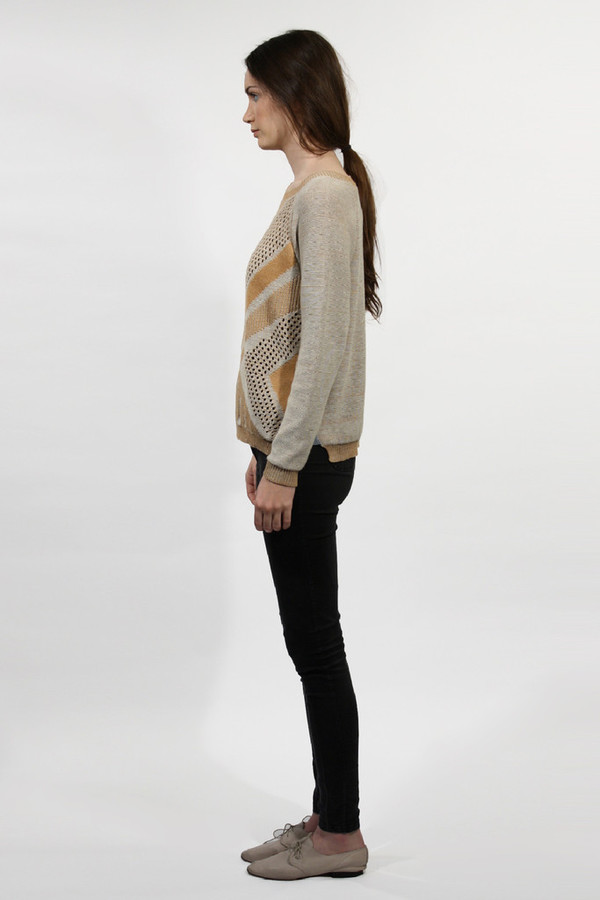 Micaela Greg Rust Textured Pullover