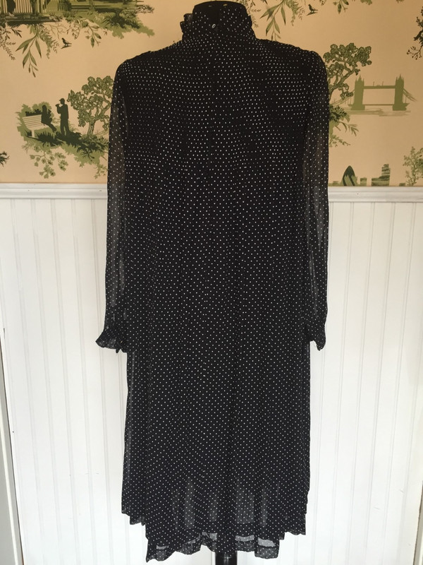 Smock style polka dot pleated designer Japanese dress size Large