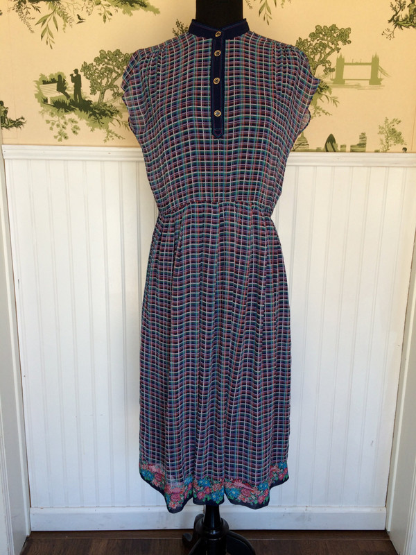 Vintage 70's Japanese Gucci Style Graphic and Floral Dress size medium large