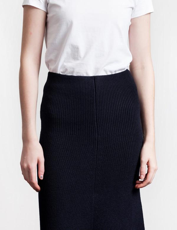 Lemaire Flared Rib Skirt Midnight