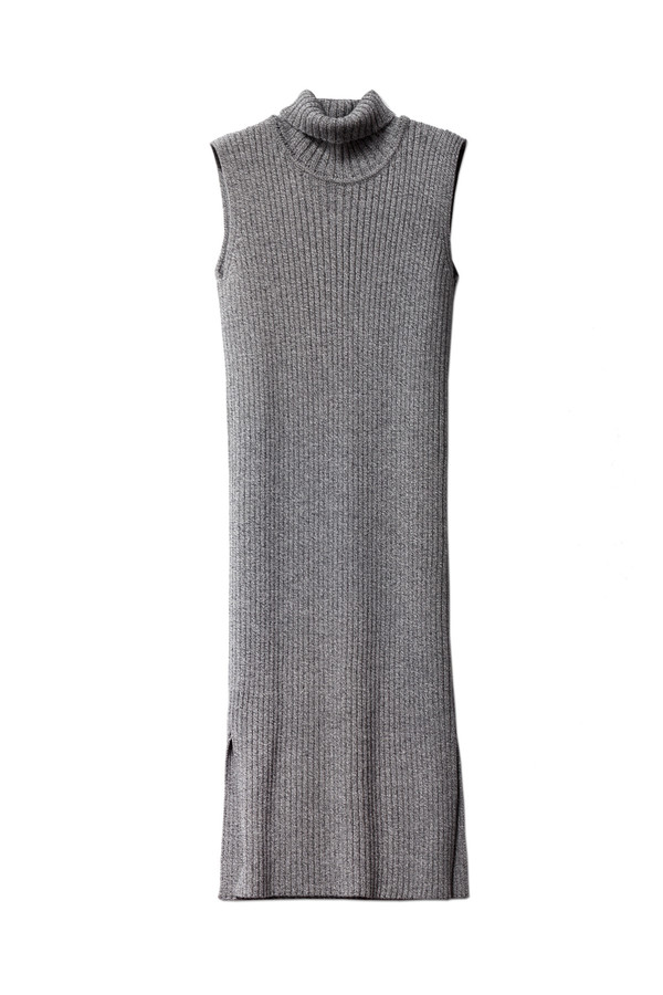 1205 Merchant Merino Rib Polo Dress Grey