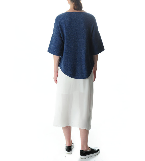 Lauren Manoogian Denim Blue Knit Dovetail Pullover