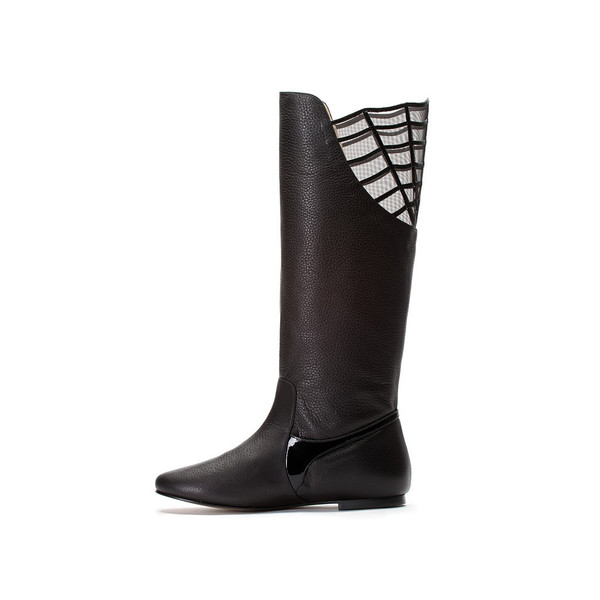 Bavaud Design Anemessia Black Leather Over The Knee Boots