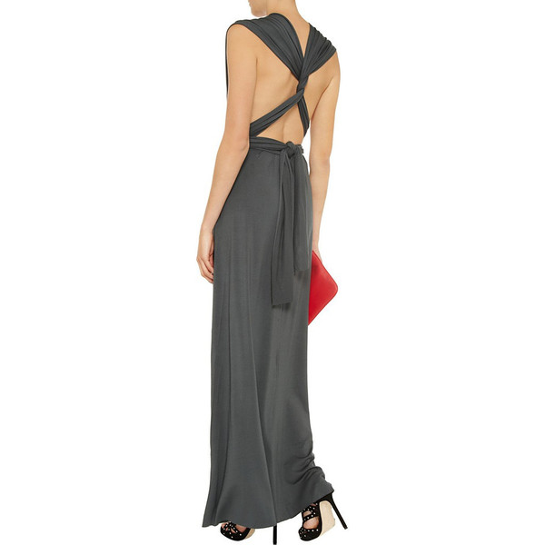 Charcoal floor length infinity dress