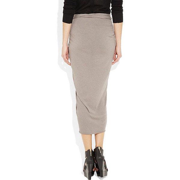 Taupe draped over the knee jersey skirt