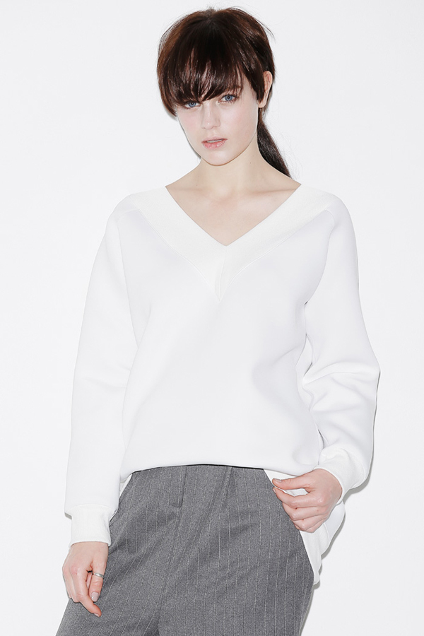 ROCKET X LUNCH Deep V Oversized Top- White