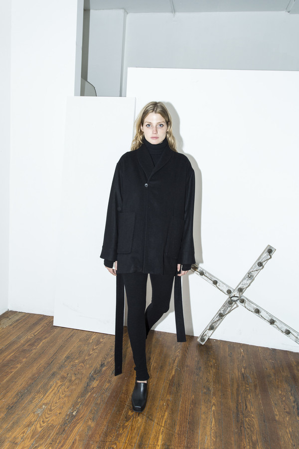 Assembly New York Black Cropped Robe Coat
