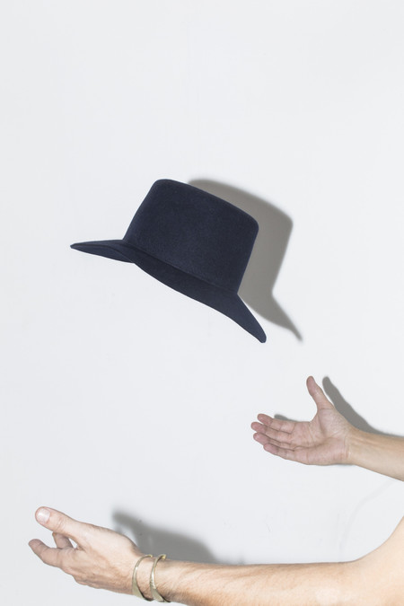 Clyde Navy Short Brim Gaucho Hat