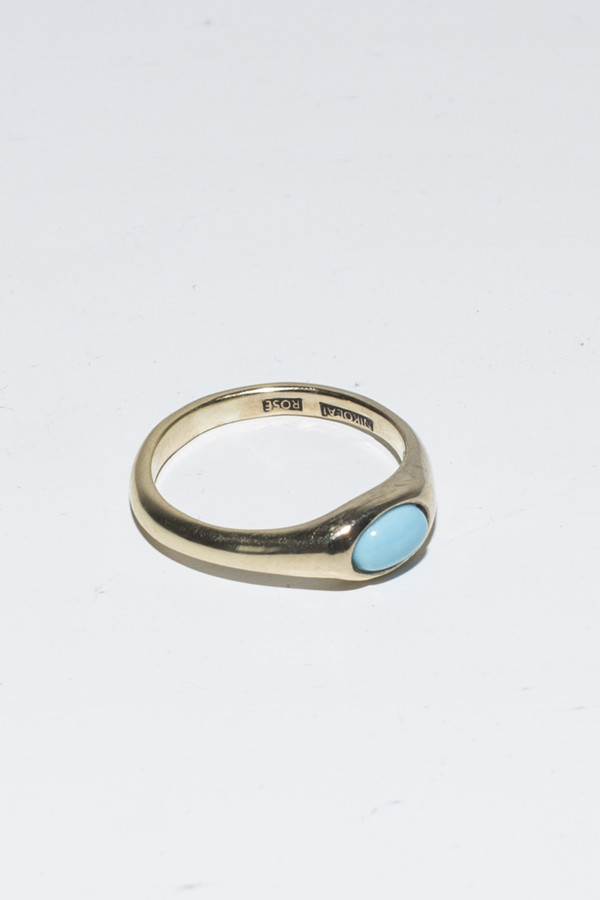 Nikolai Rose Turquoise Round Set Ring