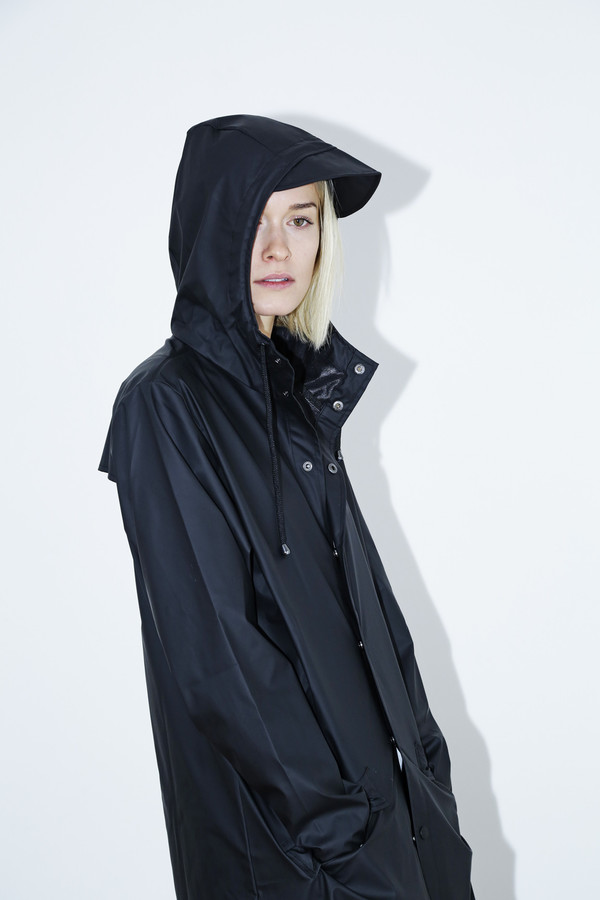 Unisex Rains Black Hooded Rain Coat
