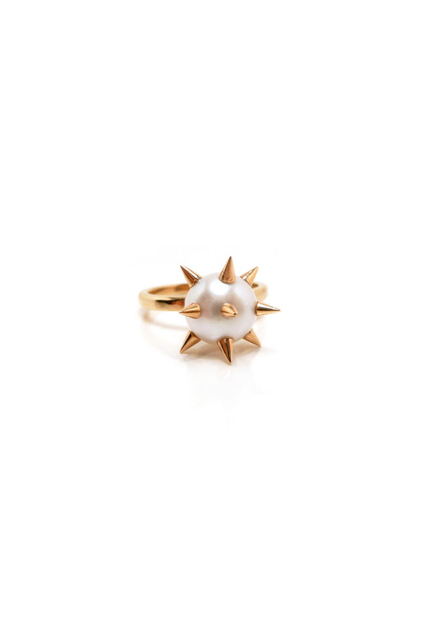 White/Gold Spike 'Bad' Pearl Ring