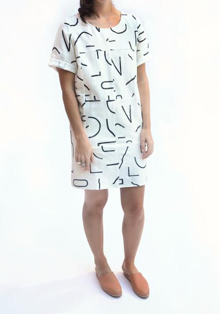 Dusen Dusen Lines Pattern Supercheck Dress