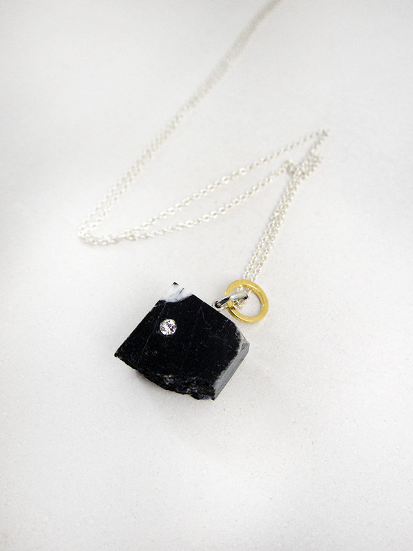 Tea Time Necklace, Black Marble