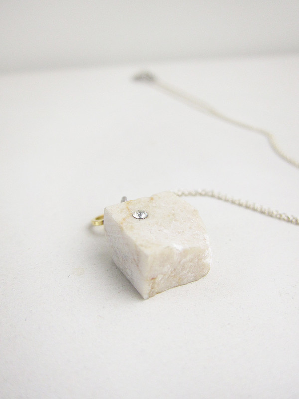 Tea Time Necklace, White Marble