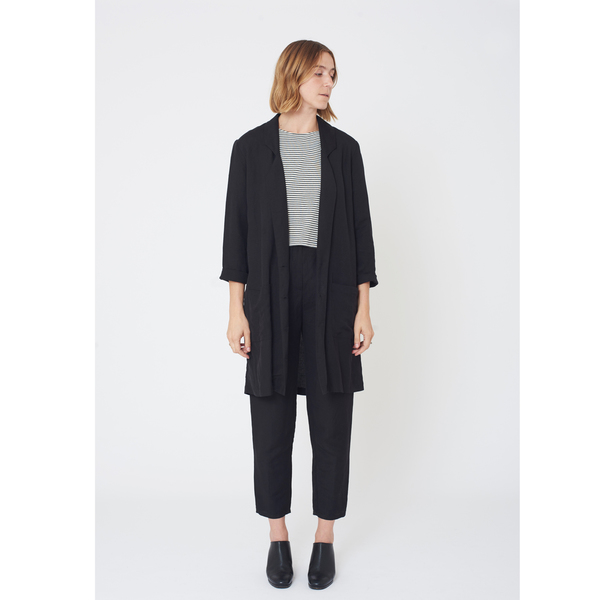 First Rite Mid Length Overcoat Black