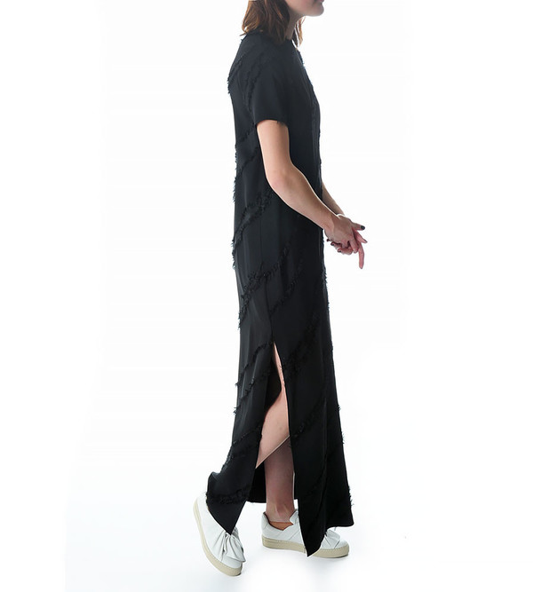 Ports 1961 Short Sleeve Gown with Fringe