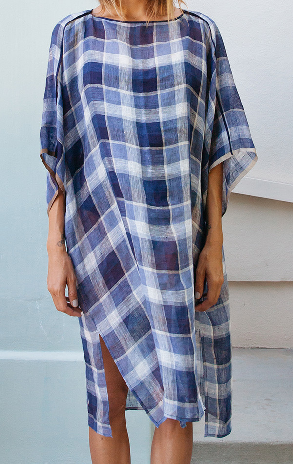 Two Plaid Linen Caftan