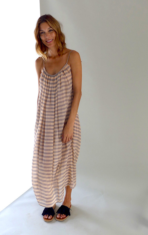 Two  Striped Peach Dress