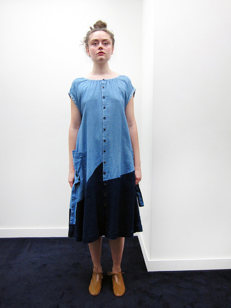 Kapital French Cloth Linen Patchwork Dress
