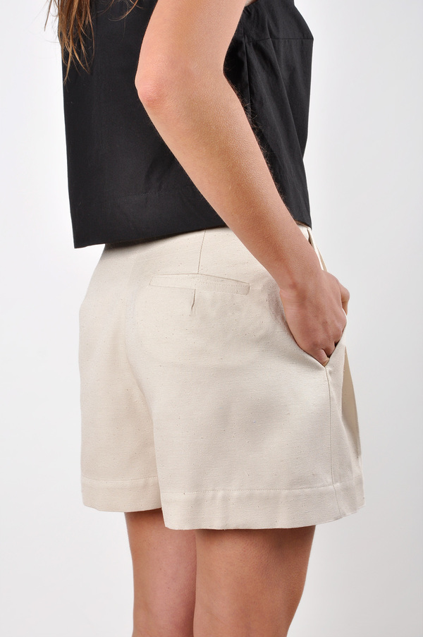 Waltz Wide-Leg Pleated Short | Textured Raw Silk