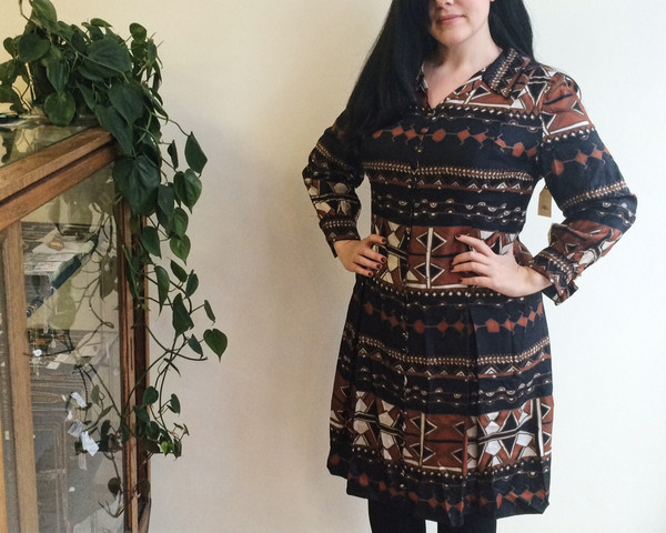 Steel Magnolias Vintage Brown and Navy Patterned Dress