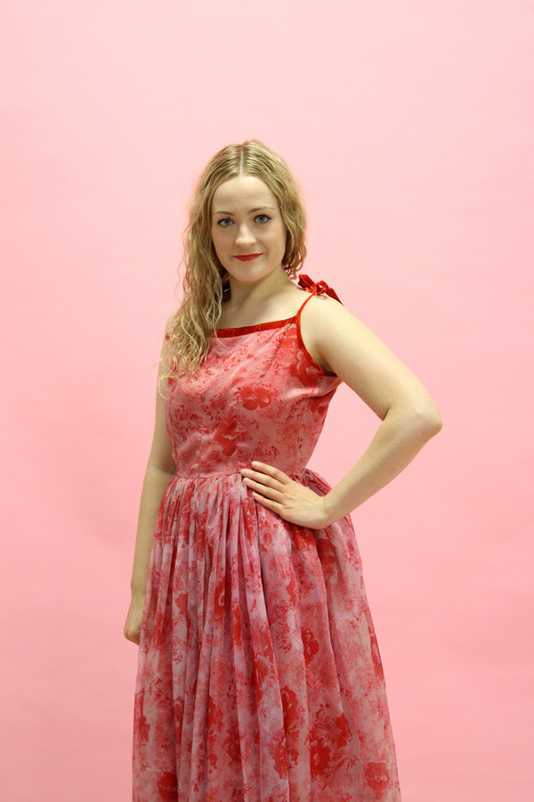 Steel Magnolias Vintage Red Rose Party Dress