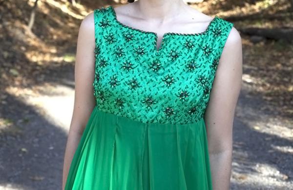 White Elephant Vintage Green Beaded Chiffon Dress