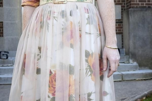White Elephant Vintage Peach Floral Dress