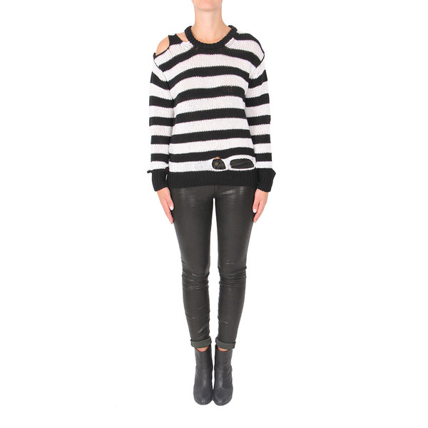 R13 Distressed Striped Cashmere Sweater