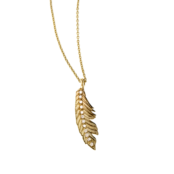Manon Mini Pave Feather Pendant
