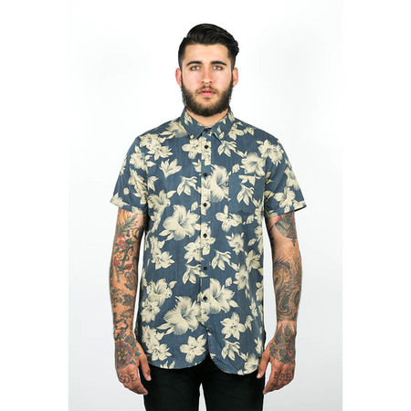 Men's Wolf & Man Malphite - blue beige hawaiian floral shirting