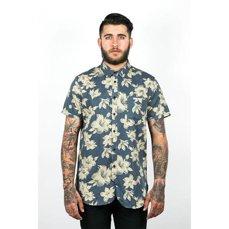Men's Wolf & Man Malphite - blue beige hawaiian floral shirting