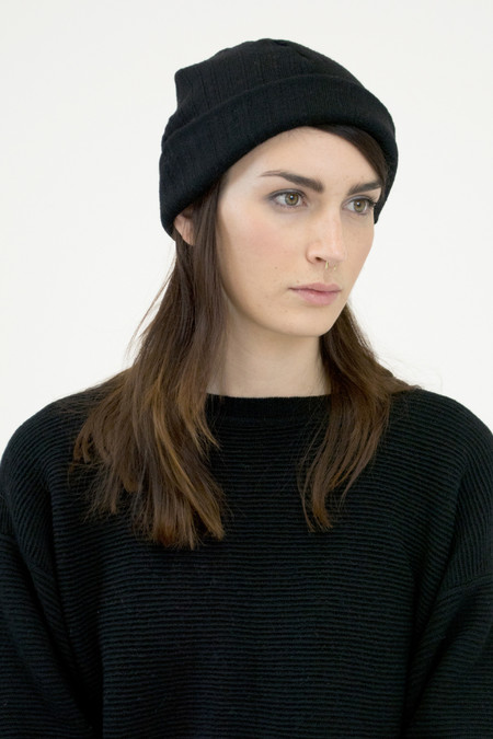 Micaela Greg Black Crinkle Hat