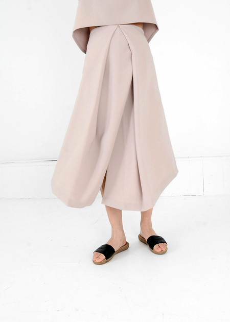 KAAREM Cream Piece of Ring Pleated Midi Skirt