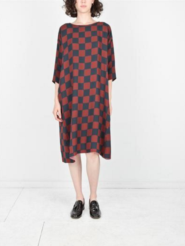 Creatures of Comfort ROMAN DRESS - RUST CHECK