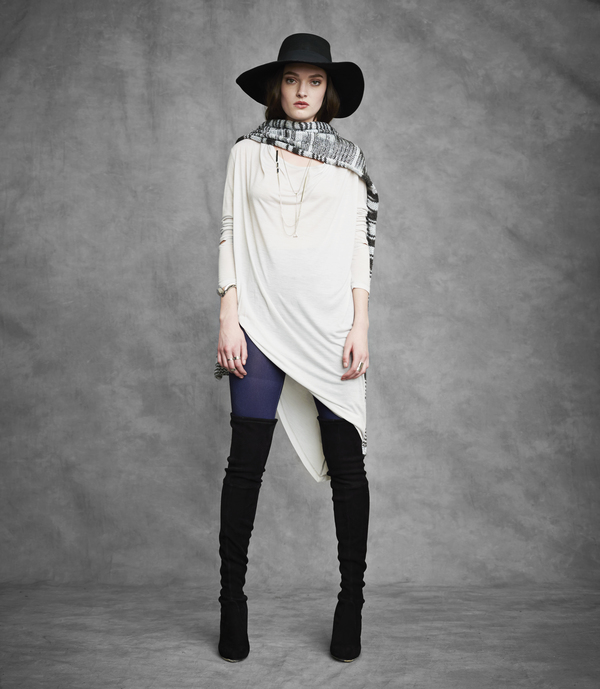 Laura Siegel Asymmetrical Long Sleeve Drape Top