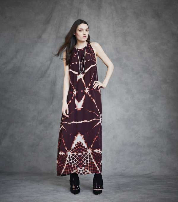 Laura Siegel Multi-Clamp Print Silk Sleeveless Maxi Dress