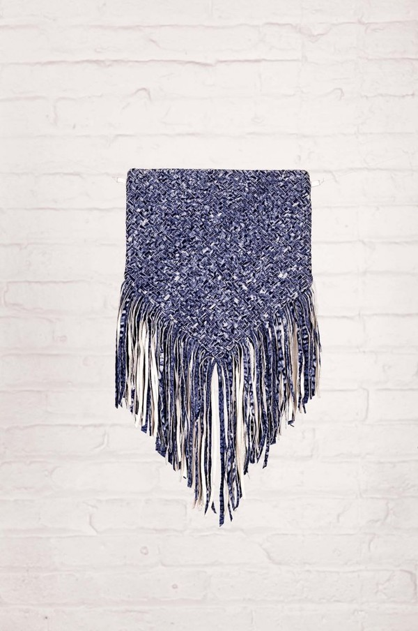 Laura Siegel Woven Leather Fringe Bag