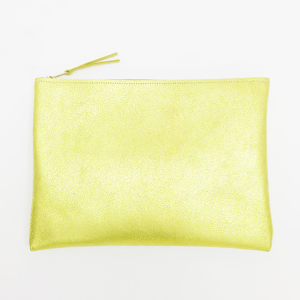 ARA Handbags - Metallic Chartreuse Clutch No. 4