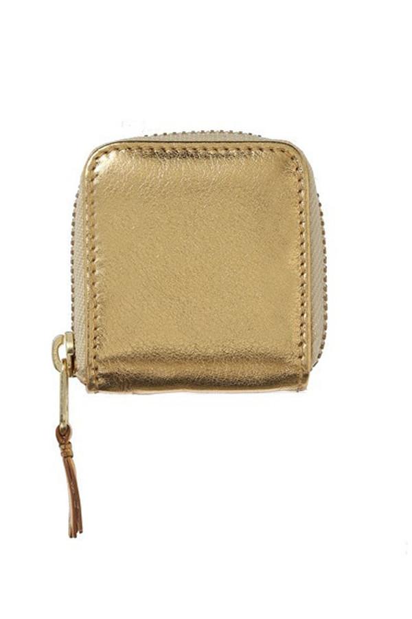 Comme des Garcons Leather Zip Pouch - Gold