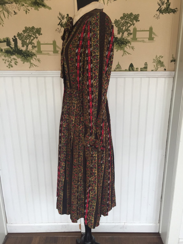 Floral paisley 80's japanese pleated vintage dress size medium