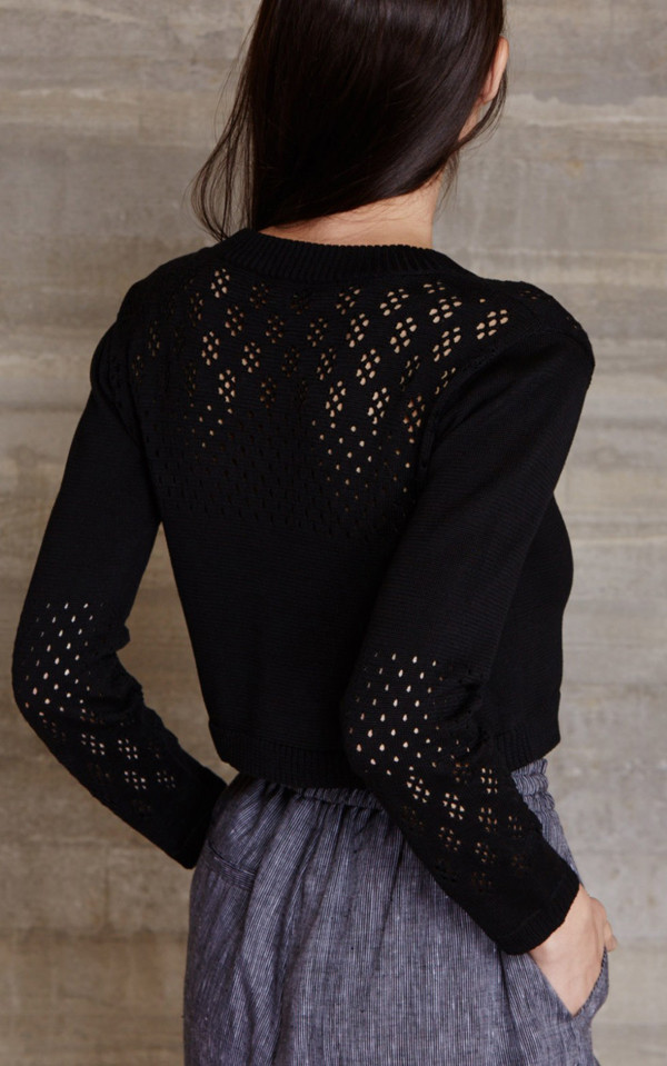 RACHEL COMEY EYELET CROPPED PULLOVER